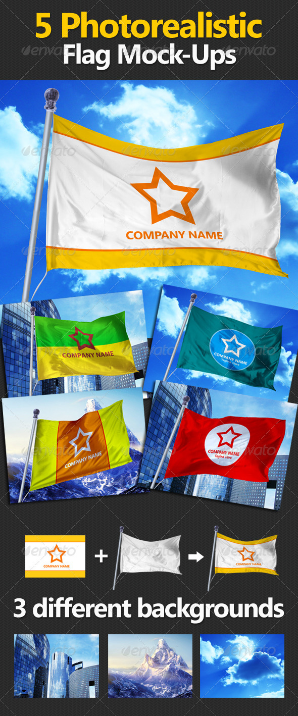 5 Photorealistic Flag Mock-Ups - Miscellaneous Product Mock-Ups