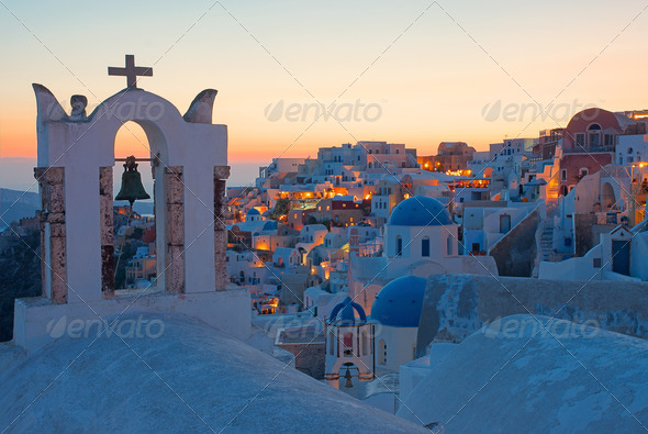 Oia after sunset - Stock Photo - Images