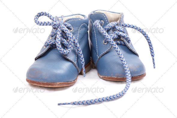 Old blue baby shoes - Stock Photo - Images