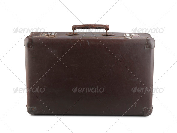 Old brown suitcase isolated on white - Stock Photo - Images