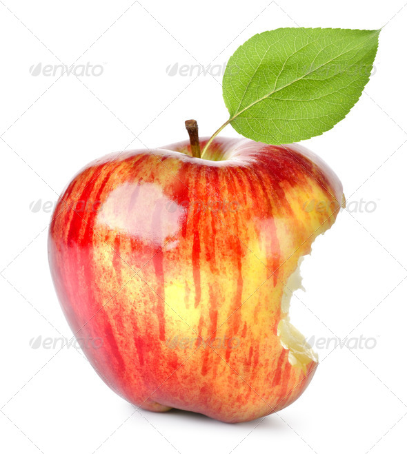Bite on a red Apple - Stock Photo - Images