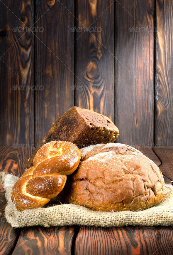 Bread on wooden boards - Stock Photo - Images