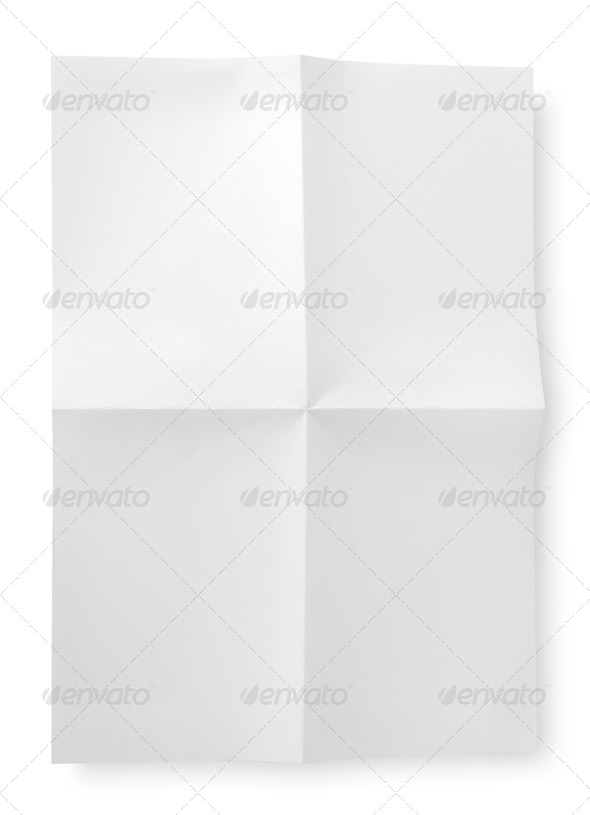 Folded blank sheet of paper - Stock Photo - Images