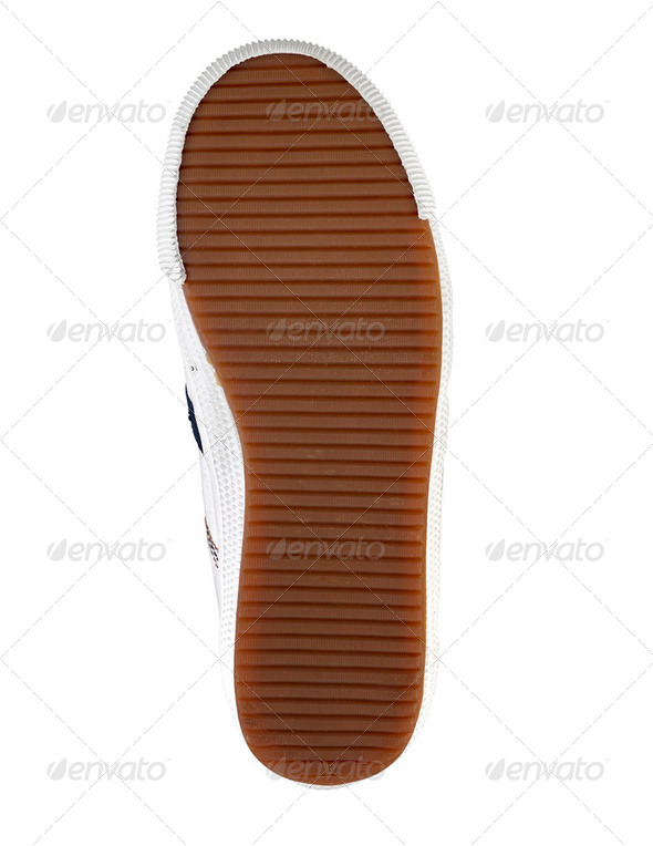 Brown sole of a shoe on a white background - Stock Photo - Images