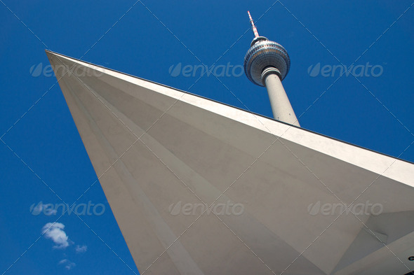 Televisiontower at Alexanderplatz in Berlin - Stock Photo - Images
