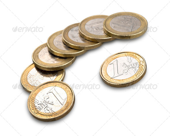 Euro Coin Isolated on White Background - Stock Photo - Images