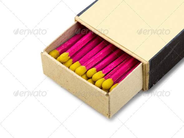 Old open Matchbox isolated - Stock Photo - Images