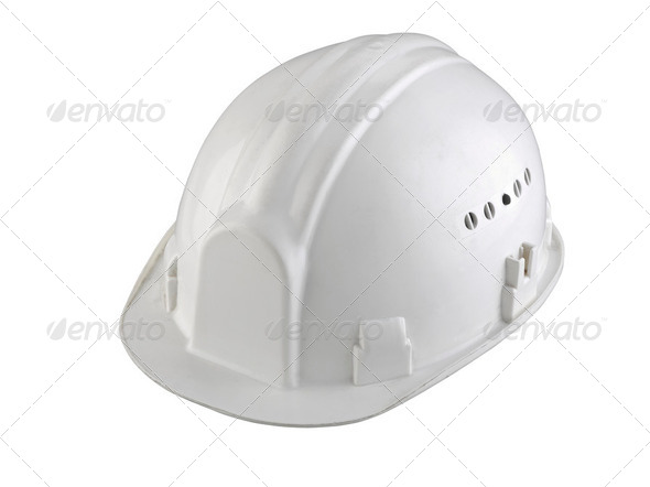 isolated white construction helmet on white background - Stock Photo - Images