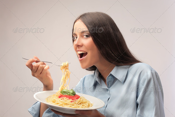 Pasta for lunch - Stock Photo - Images
