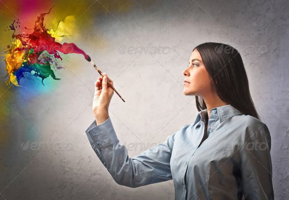 Artist in action - Stock Photo - Images