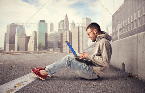 Wireless in the city - Stock Photo - Images