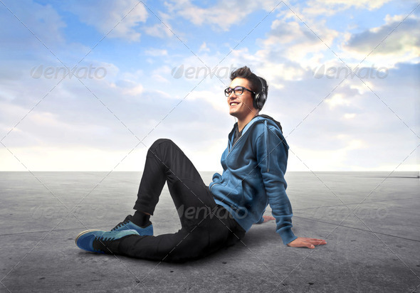 Listen to music - Stock Photo - Images