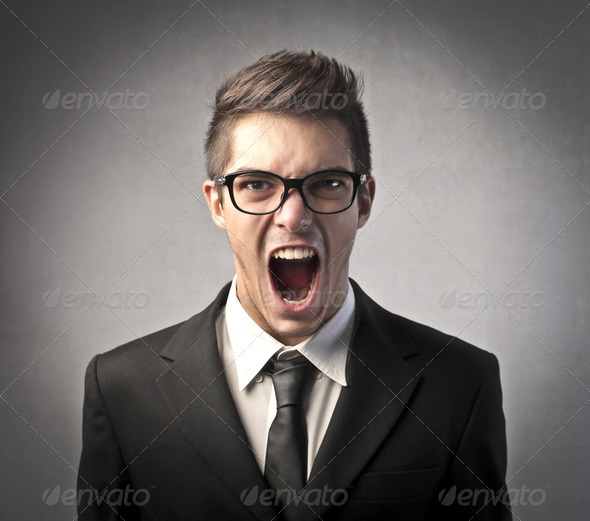 Furious businessman - Stock Photo - Images