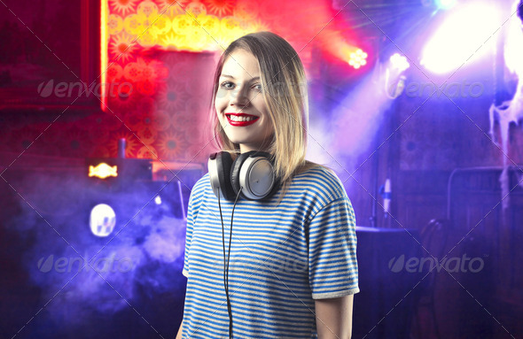 Female dj - Stock Photo - Images