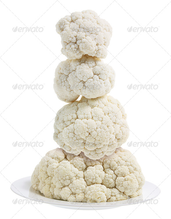 Cauliflower on Plate - Stock Photo - Images