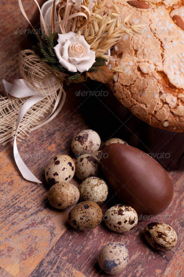 Photo: Easter Still Life With Cake And Eggs - Stock Photo - Images