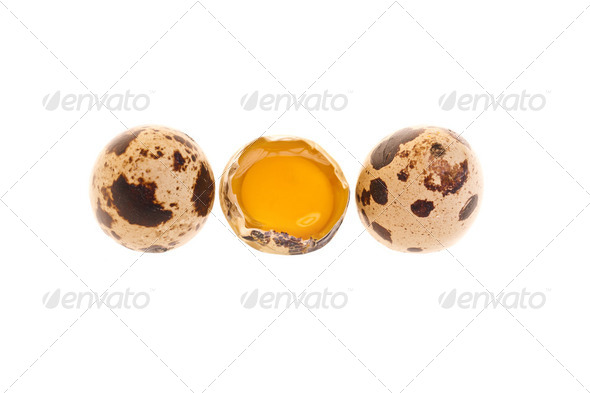 Photo: Quail Eggs Whole And Yolk - Stock Photo - Images