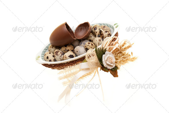Photo: Plate With Quail Eggs And Broken Chocolate Egg - Stock Photo - Images