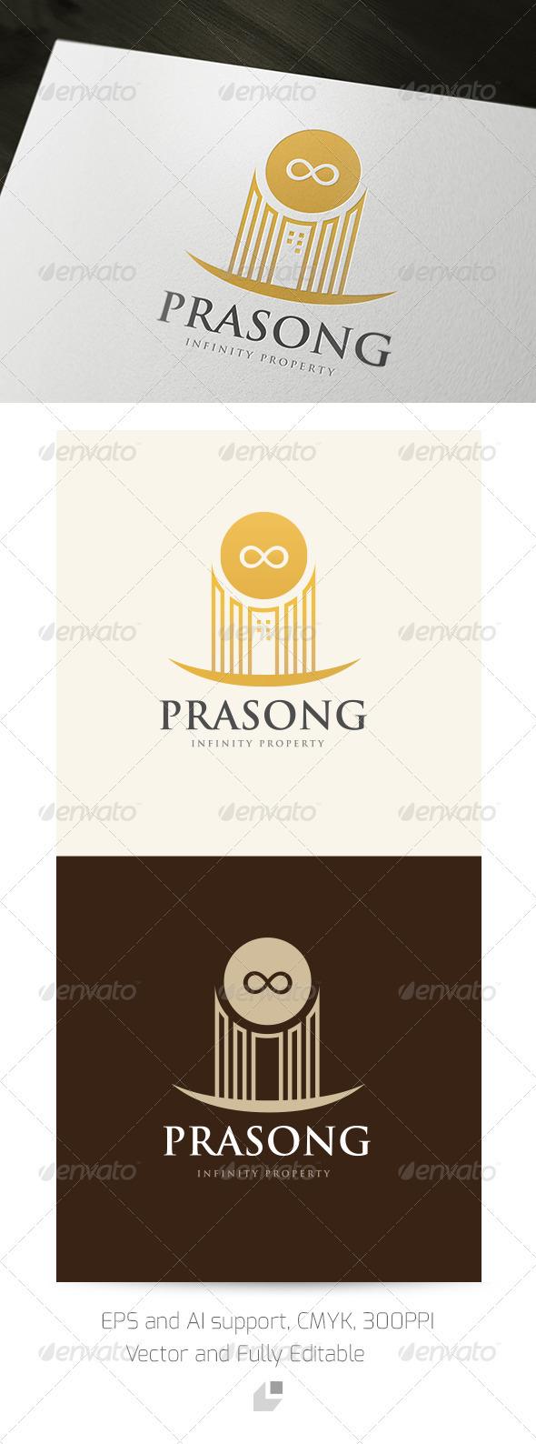 Prasong Infinity Property Logo - Buildings Logo Templates
