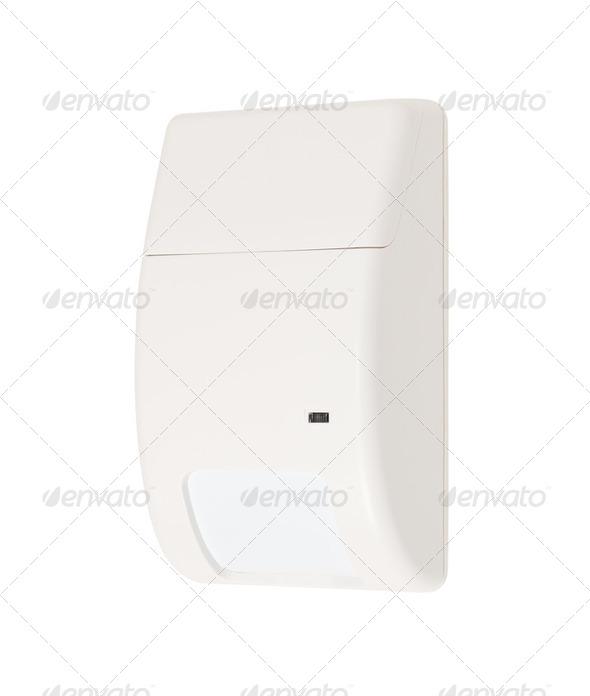 Volumetric infrared alarm sensor isolated on white - Stock Photo - Images