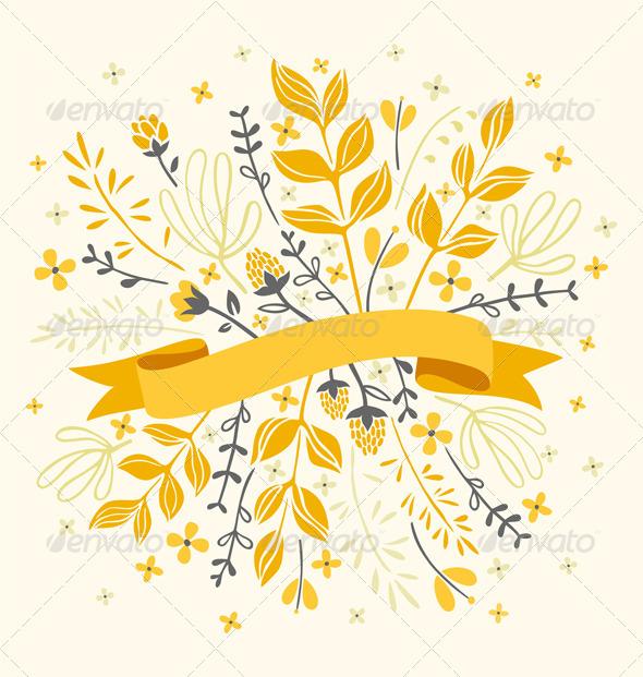 Florals And Ribbon - Decorative Vectors