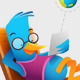 Blue Bird Sitting Using Tablet - GraphicRiver Item for Sale