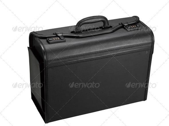 Black leather representative suitcase - Stock Photo - Images