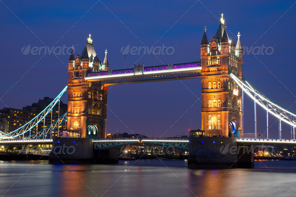 Tower Bridge at night - Stock Photo - Images