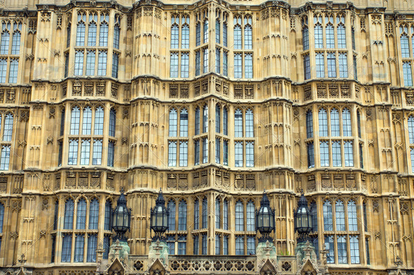 Facade of the Houses of Parliament  - Stock Photo - Images