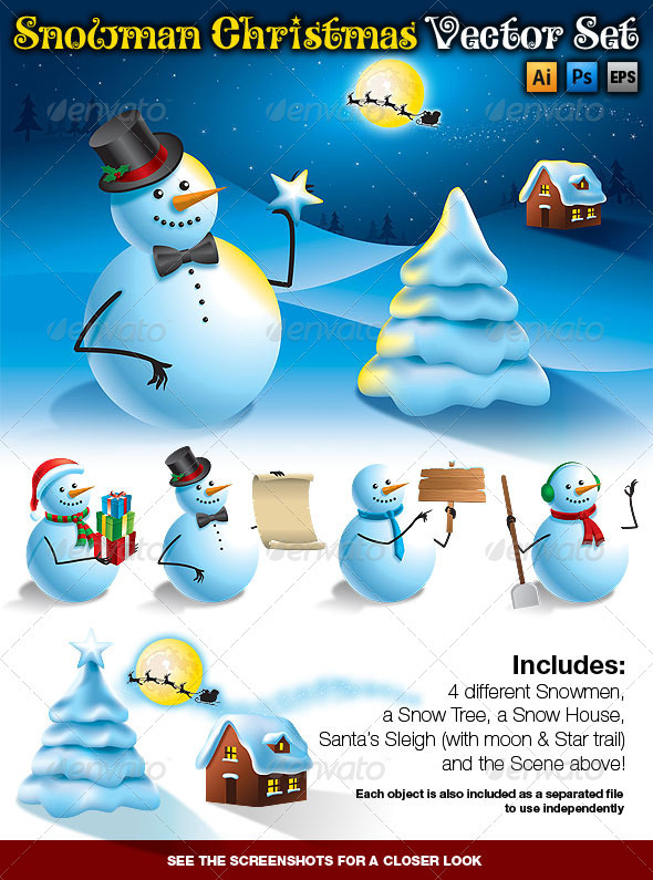 Snowman Christmas Vector Set - Christmas Seasons/Holidays