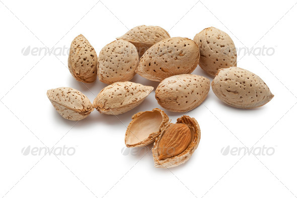 Almonds in the pod - Stock Photo - Images