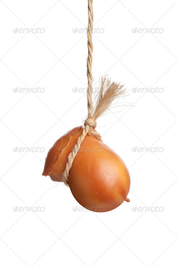 Hanging smoked Scamorza cheese - Stock Photo - Images