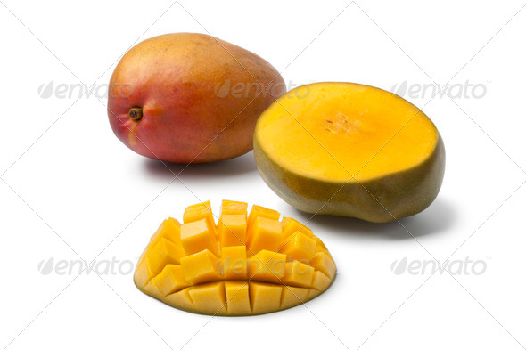 Whole and half Mango - Stock Photo - Images