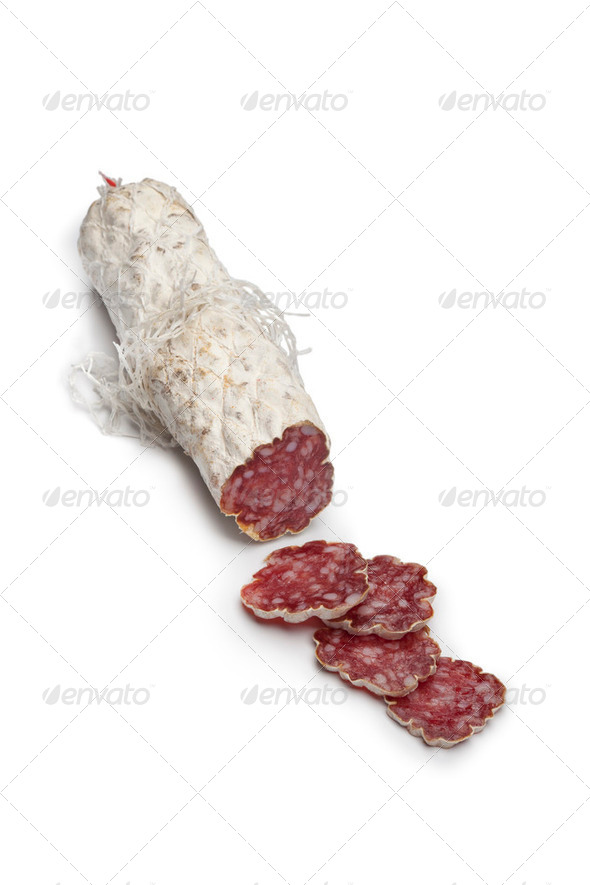 Sliced French Salami sausage - Stock Photo - Images