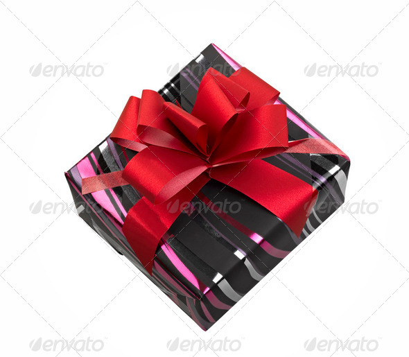 Single gift box with red ribbon on white background. - Stock Photo - Images
