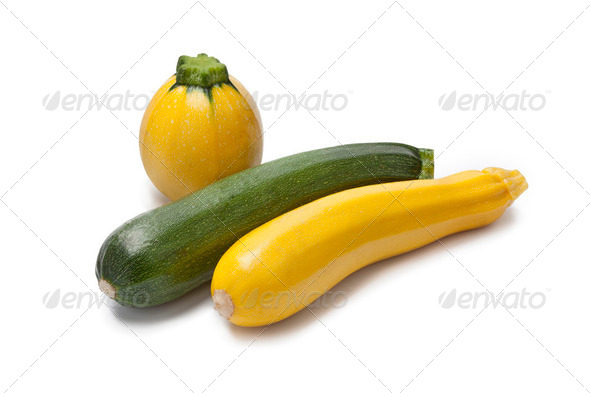 Yellow, green and round courgette - Stock Photo - Images