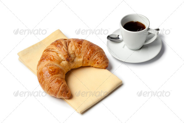 French croissant and espresso coffee - Stock Photo - Images