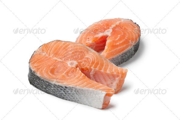 Fresh slices of salmon - Stock Photo - Images