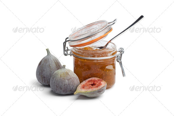 Fig jam with fresh figs - Stock Photo - Images