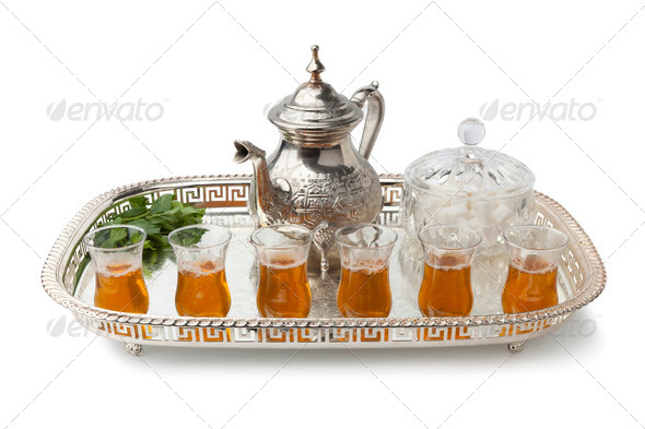 Tray with traditional Moroccon mint tea - Stock Photo - Images