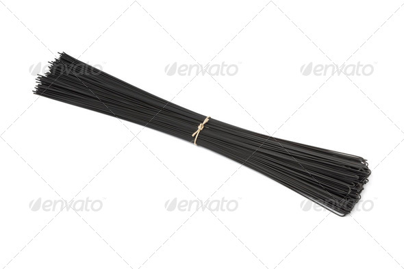 Black sepia spaghetti - Stock Photo - Images