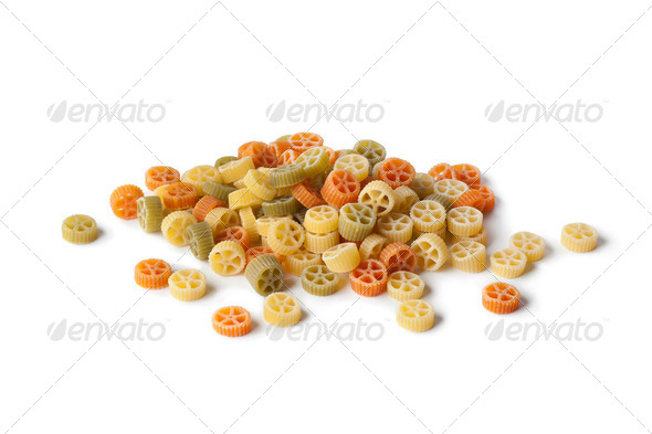 Colored raw  Ruote Tricolore pasta - Stock Photo - Images