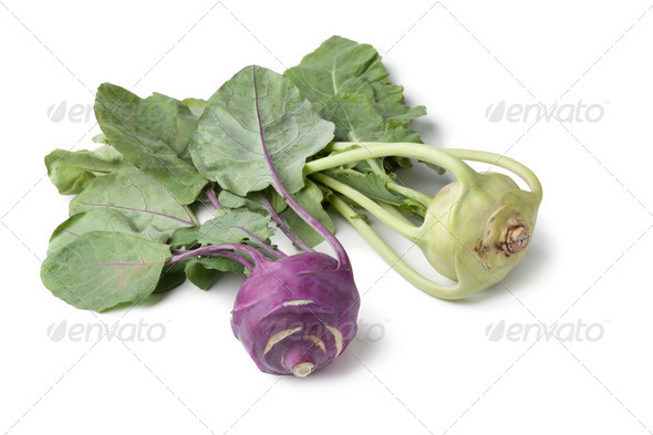 White and purple kohlrabi - Stock Photo - Images