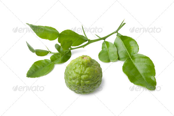 Kaffir lime and leaves - Stock Photo - Images