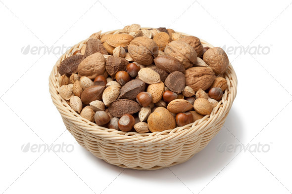 Basket with mixed nuts - Stock Photo - Images