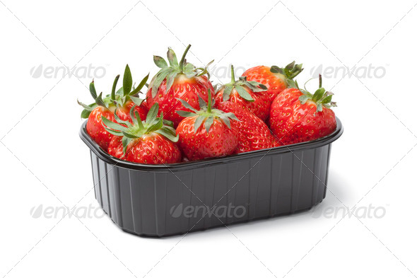 Plastic box with fresh strawberries - Stock Photo - Images