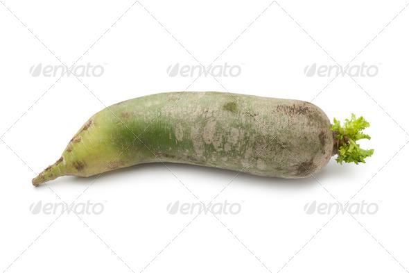 Whole single green radish - Stock Photo - Images