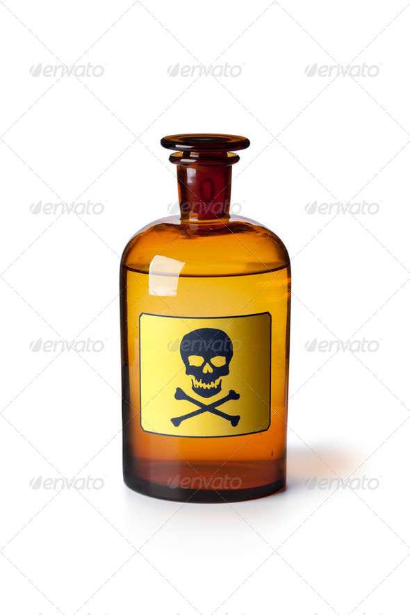Medicine bottle with poisonous liquid - Stock Photo - Images