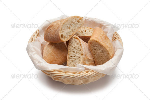 Basket with fresh ciabatta - Stock Photo - Images