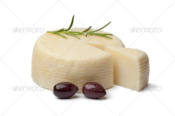 Greek cheese with Calamata olives - Stock Photo - Images